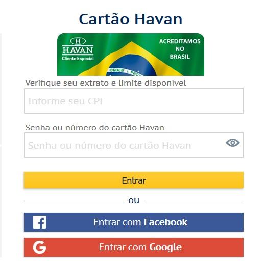 Segunda via da fatura cartão de crédito Havan