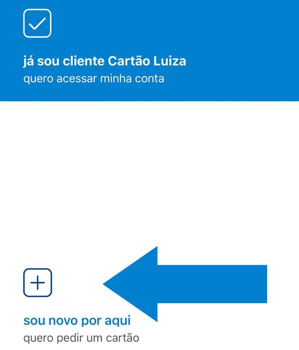 Cartão Luiza pelo app